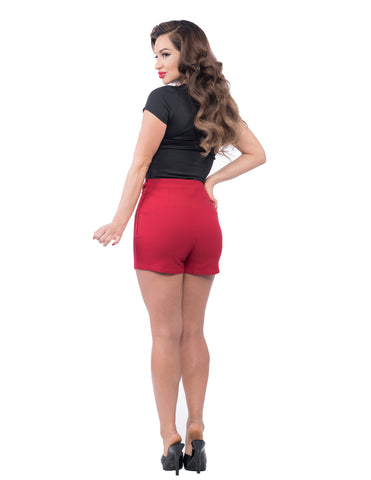 Steady Clothing Bombshell High Waisted Shorts Red|Poisonkandyklothing