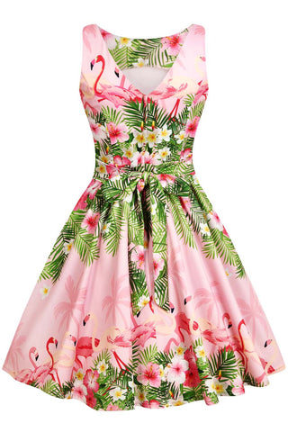 Lady Vintage - Tea Dress Flamingo Border Pink|Poisonkandyklothing