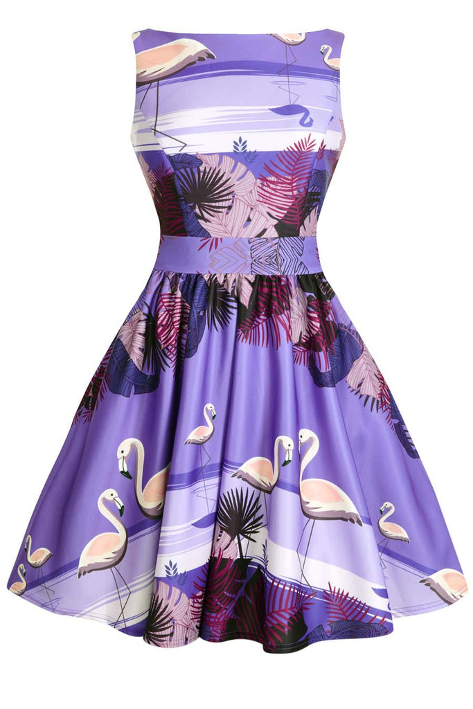 Lady Vintage - Tea Dress Twilight Flamingo Border|Poisonkandyklothing