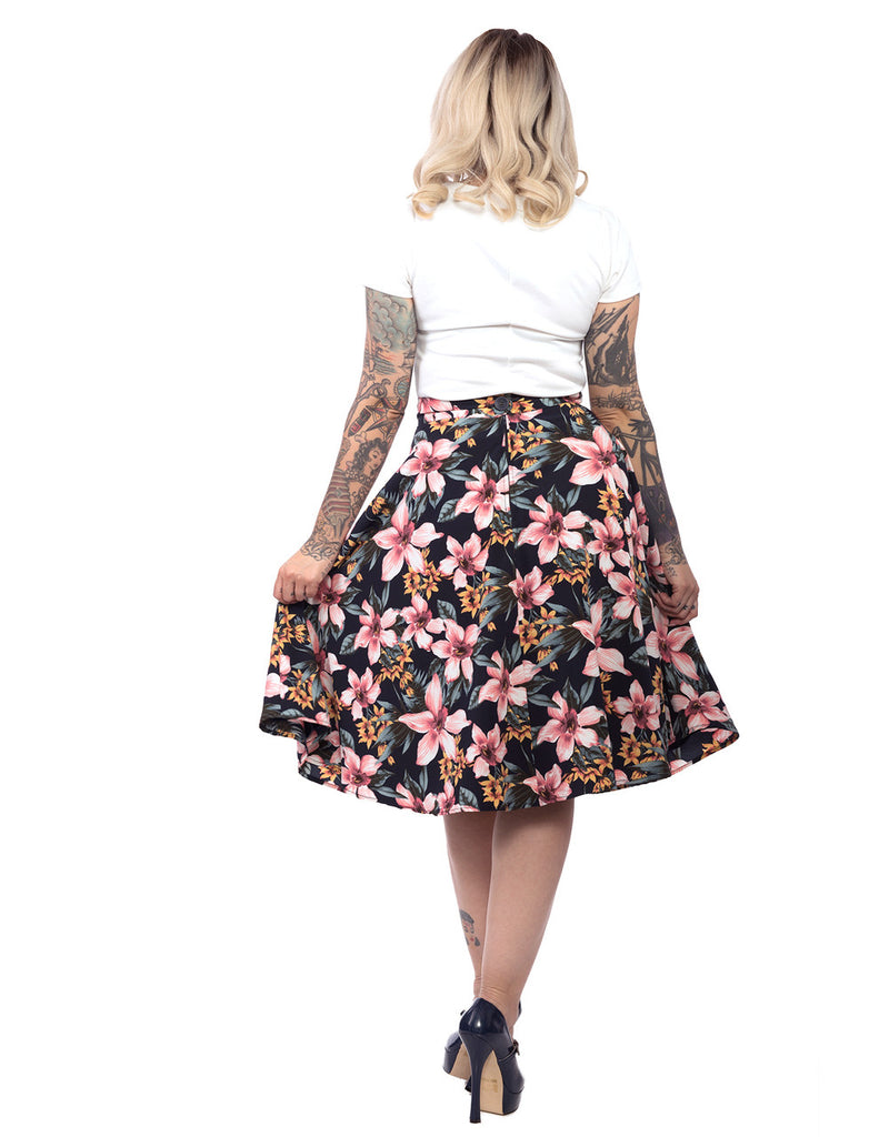 Steady Clothing - Tropical Dream Thrills Skirt Navy|Poisonkandyklothing