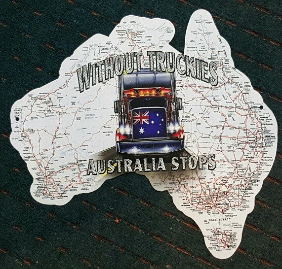 Tin Sign Aussie Map - Without Truckies