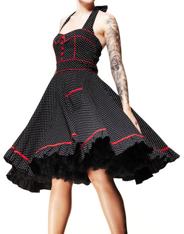 Hell Bunny Vanity 50's Dress Black with White Polka