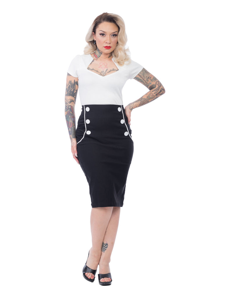 Steady Clothing Vivian Wiggle Skirt Black/White|Poisonkandyklothing