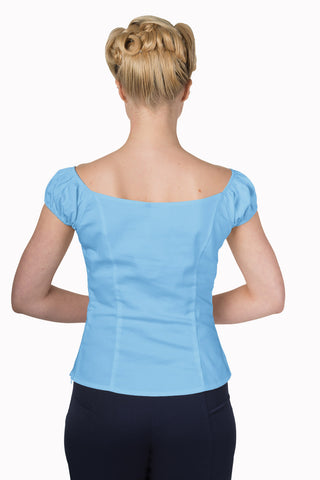 Banned Clothing - ladies Winnie Top Blue