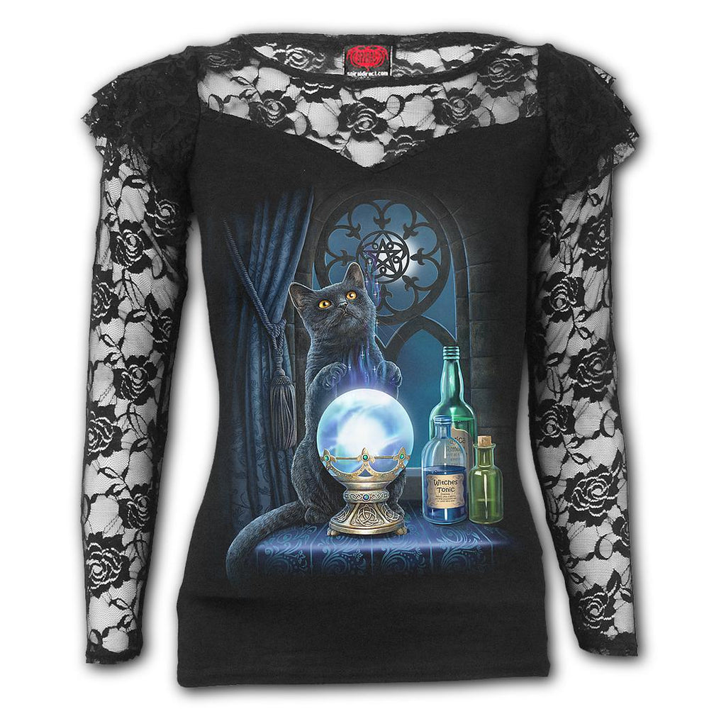 Ladies Shoulder Lace top Witches Aprentice Black|Poisonkandyklothing