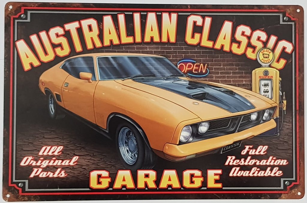 Tin Sign - XB Australian Classic Falcon Coupe Yellow