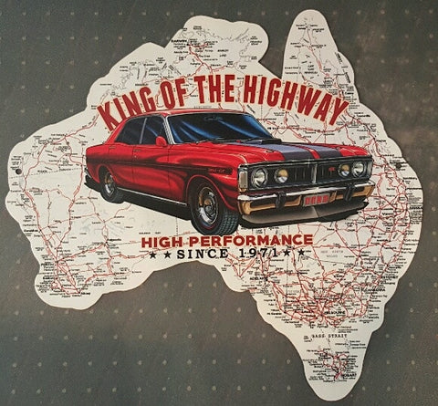 Aussie Map - King Of The Highway XY Red Tin Sign