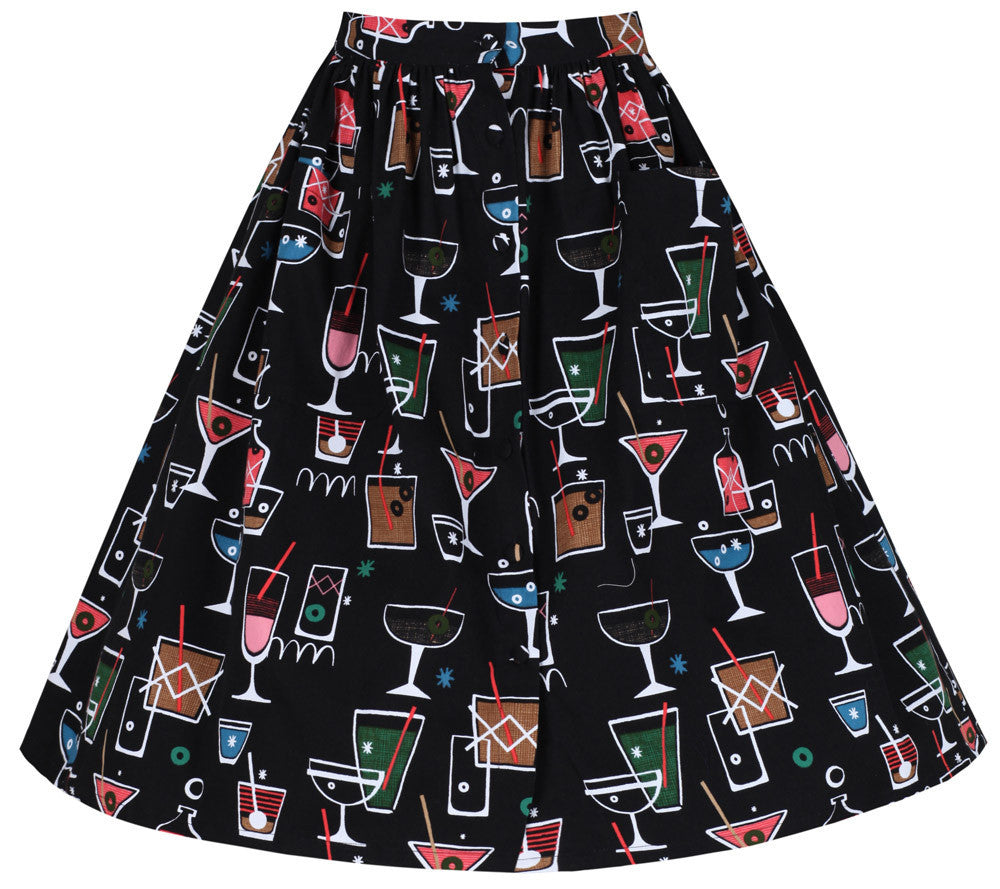 Lindy Bop - Adalene Black Cocktail Print Skirt Plus Size|Poisonkandyklothing