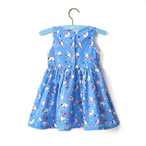 Little Toddlers Dress - Blue Bowling Pattern