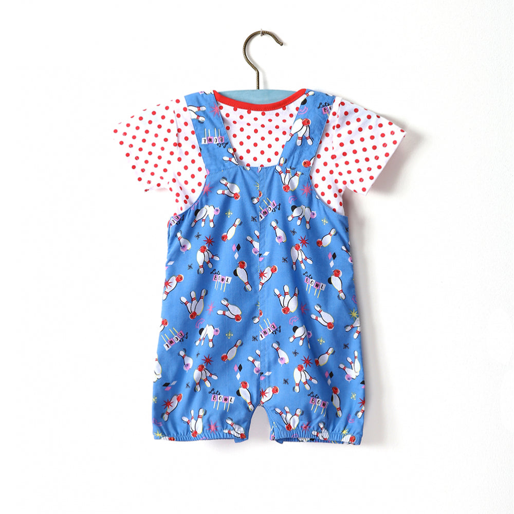 Baby Dungaree - Blue Bowling Twin Set