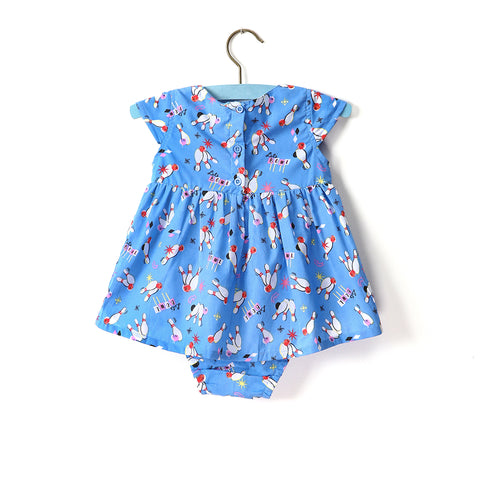 Little Bubs Dress - Blue Bowling Patterned Set