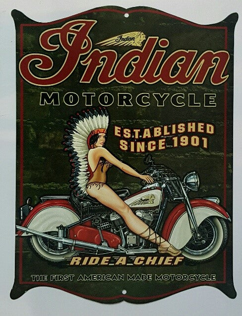 Tin Sign - Indian Motorcycles Ride A Chief  Western Shield