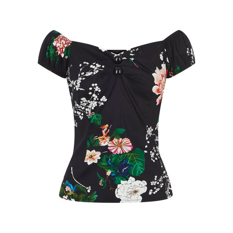 Collectif - Dolores Blossom Print  Top Poison Kandy klothing