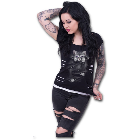 BRIGHT EYES - 2in1 White Ripped Top Plus Size Black Poison Kandy Klothing