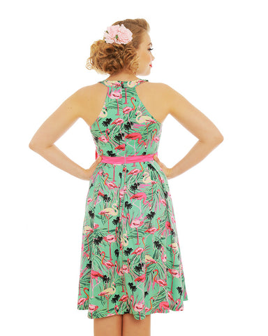 Lindy Bop Cherel Flamingo Swing Dress|Poisonkandyklothing