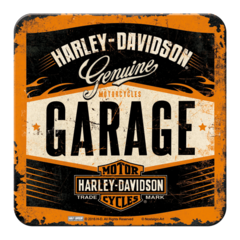 Coasters with Metal Surface cork backing - Harley Davidson Garage