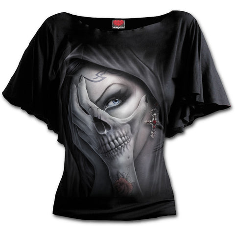 Dead Hand Boat Neck Bat Sleeve Top