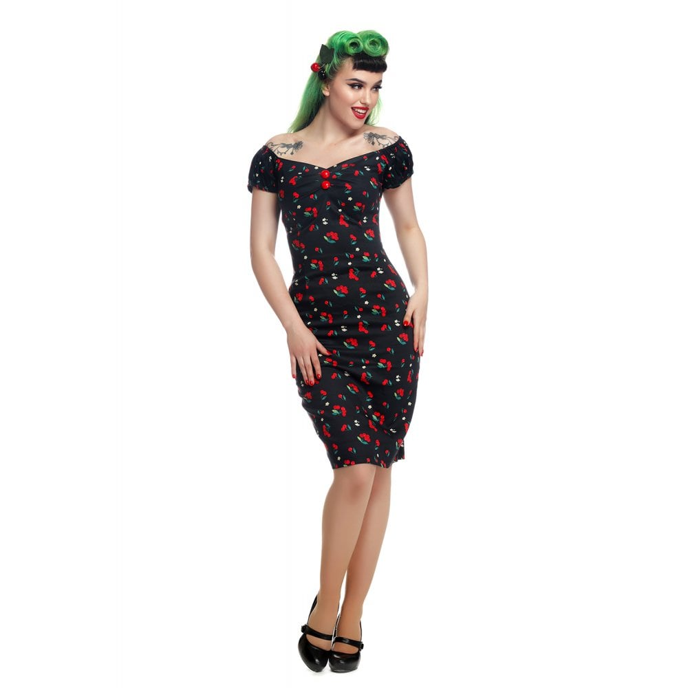 Collectif Dolores Cherries & Blossom Pencil Dress|Poisonkandyklothing