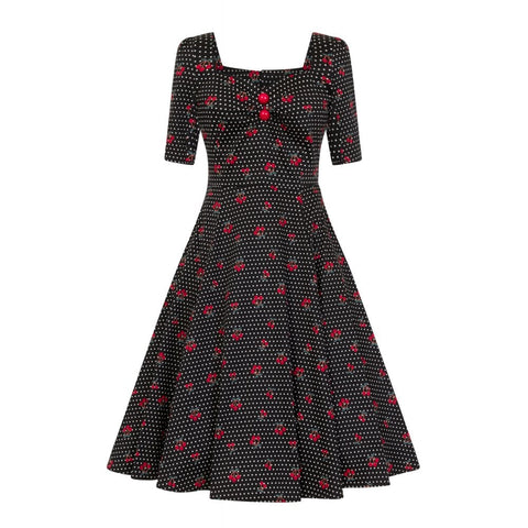 Collectif Mainline H/s Cherry Polka Dot Swing Dress|Poisonkandyklothing