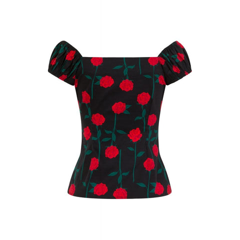 Collectif - Dolores Rose Stem Top|Poisonkandyklothing