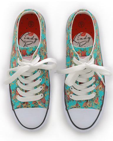 Lindy Bop - Turquoise Floral Sneakers|Poisonkandyklothing
