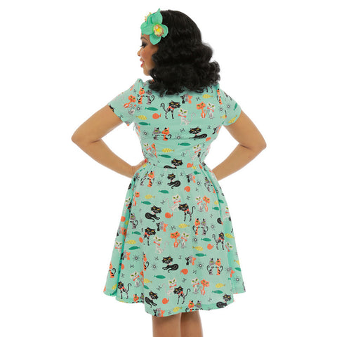 Lindy Bop - Helena Cat Print Swing Shirt Dress|Poisonkandyklothing