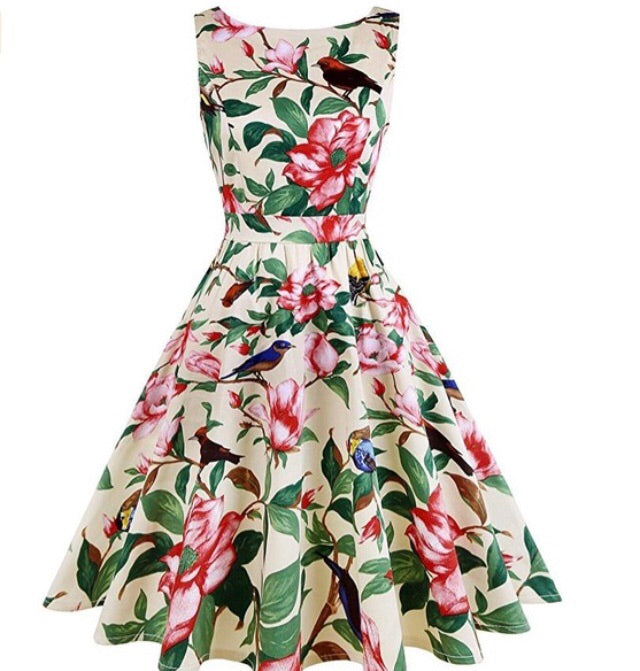 Robyn Floral Bird Ladies Dress