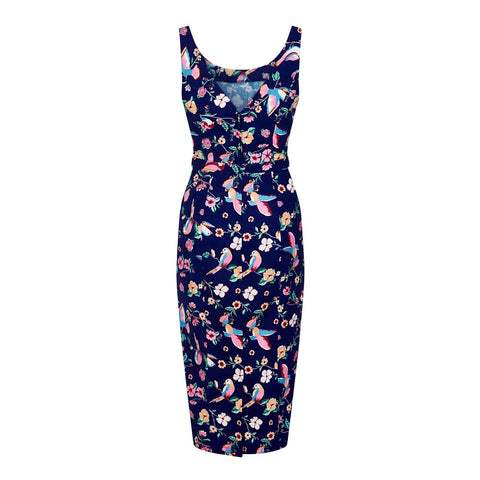 Collectif-Ines Charming Bird Print Pencil Dress|Poisonkandyklothing