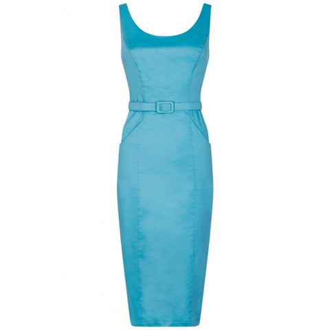 Collectif - Ines Plain Pencil Dress Blue|Poisonkandyklothing