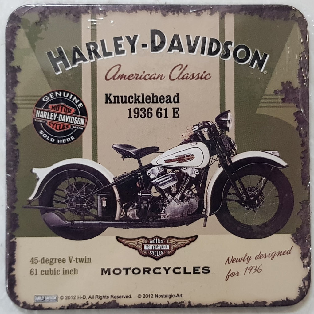 Coasters with Metal Surface cork backing - Harley Davidson Knucklehead