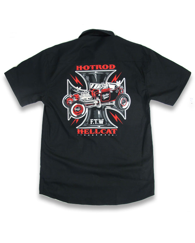 Hotrod HellCat - Mens Button up S/S shirt Iron Cross
