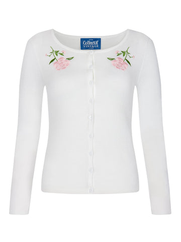 Collectif - Ladies Cardigan Jo Vintage Rose White