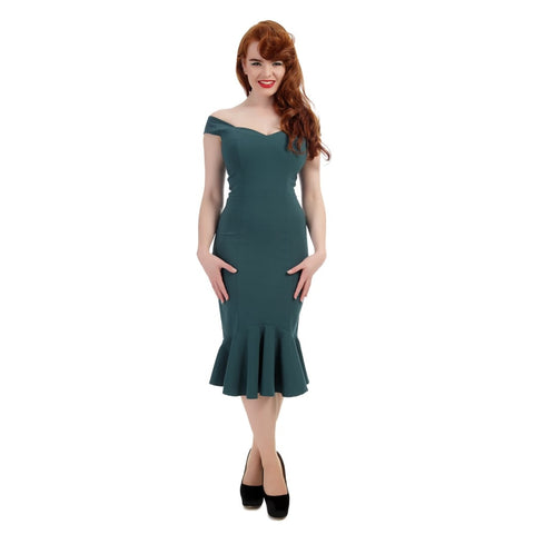 Ladies Dress - Collectif   Mainline  Josephine Fishtail Dress Teal