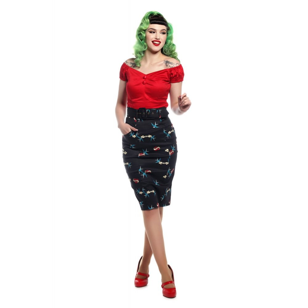Collectif - Kayleigh True Love Pencil SKirt|Poisonkandyklothing