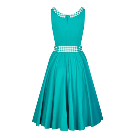 Collectif Kitty Gingham Teal Ladies Dress|Poisonkandyklothing