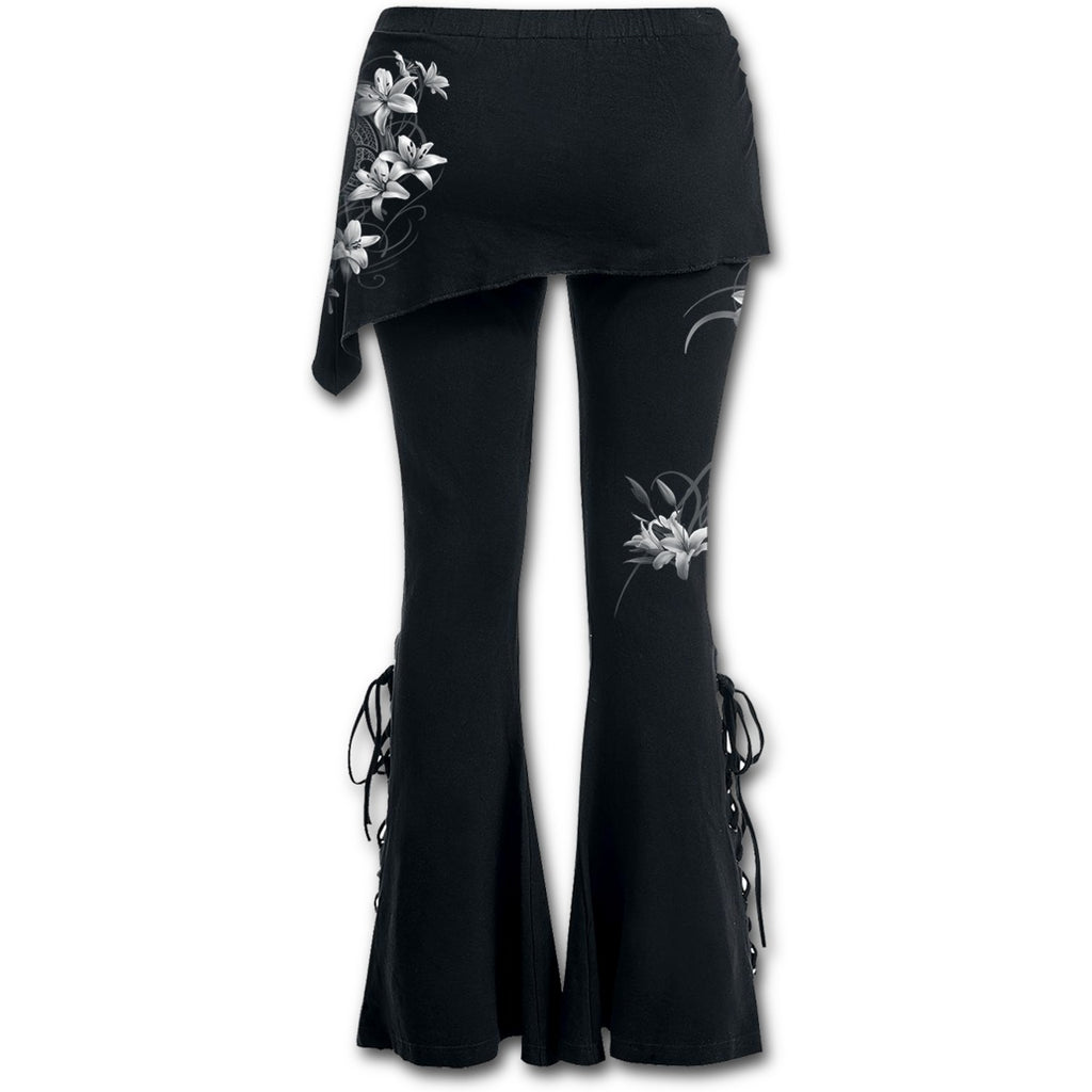 Ladies Leggings - PURE OF HEART - 2in1 Boot-Cut Leggings with Micro Slant Skirt Poison Kandy Klothing