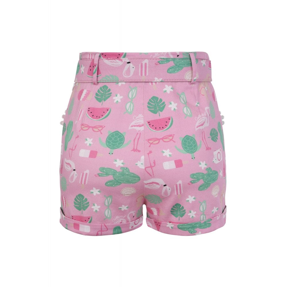Collectif - Lisa Summer Flamingo Shorts