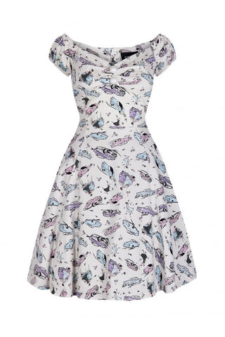 Collectif Mini Dolores 50's Car print White-Plus|Poisonkandyklothing