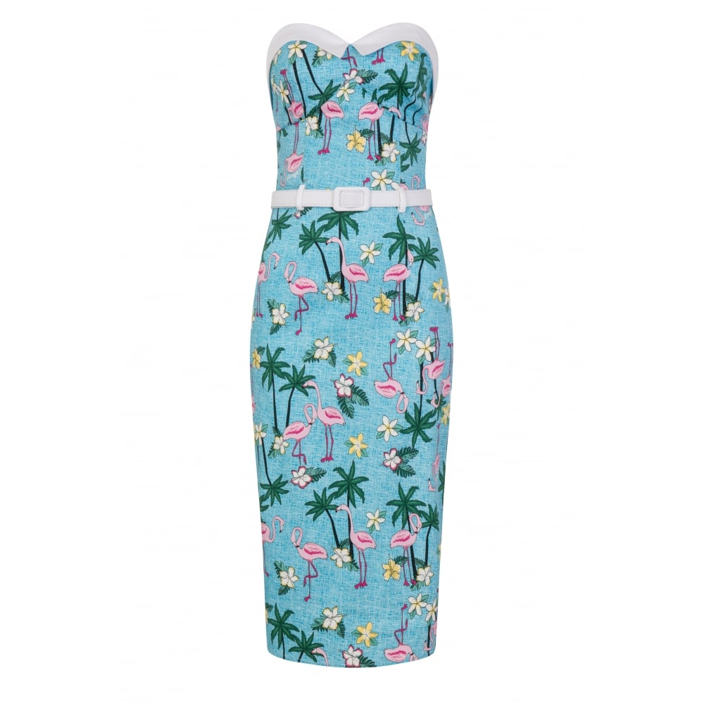 Collectif - Monica Tropical Flamingo Pencil Dress|Poisonkandyklothing