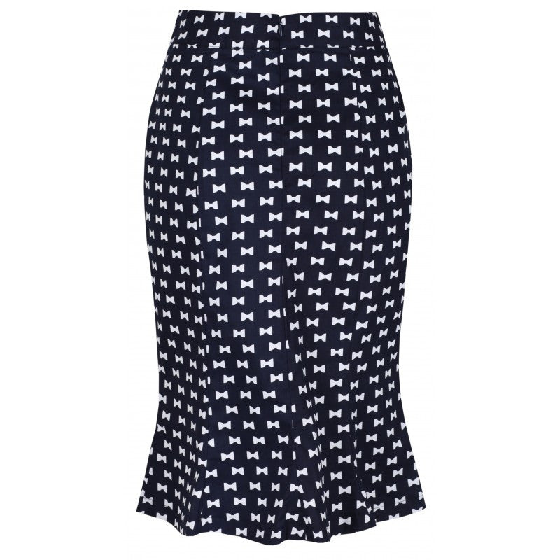 Lindy Bop Fishtail Wiggle Navy bow Skirt