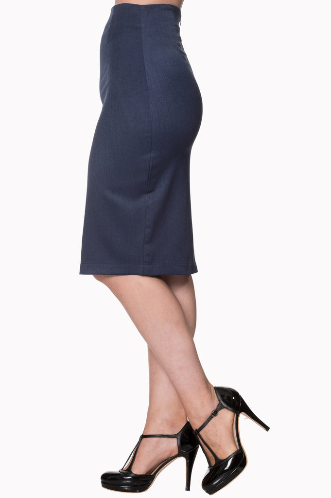 Banned Paula Midnight Blue Pencil Skirt