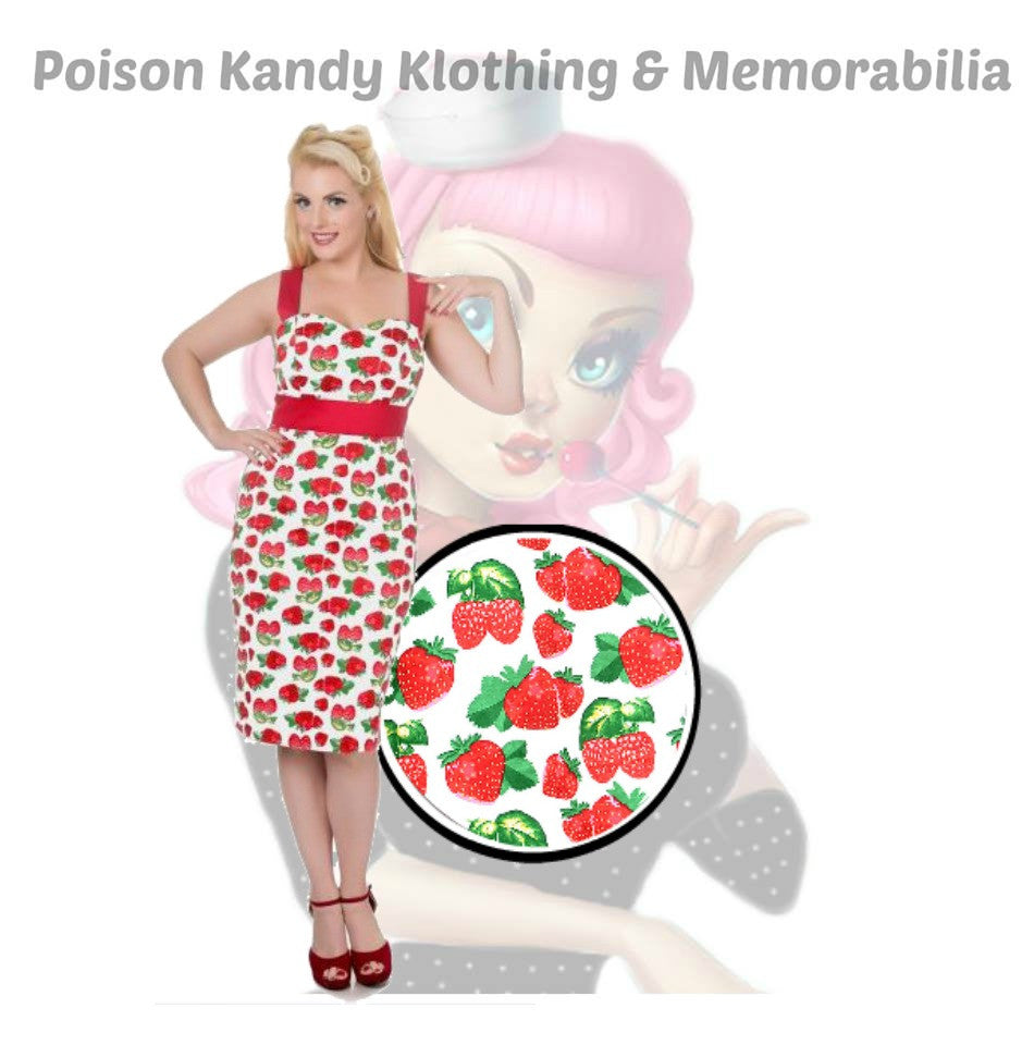 Ladies Dress - Thelma 50's Pinup Wiggle Dress White with Strawberry