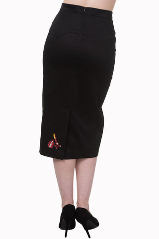 Banned Clothing - ladies Pencil Skirt Romantics Black