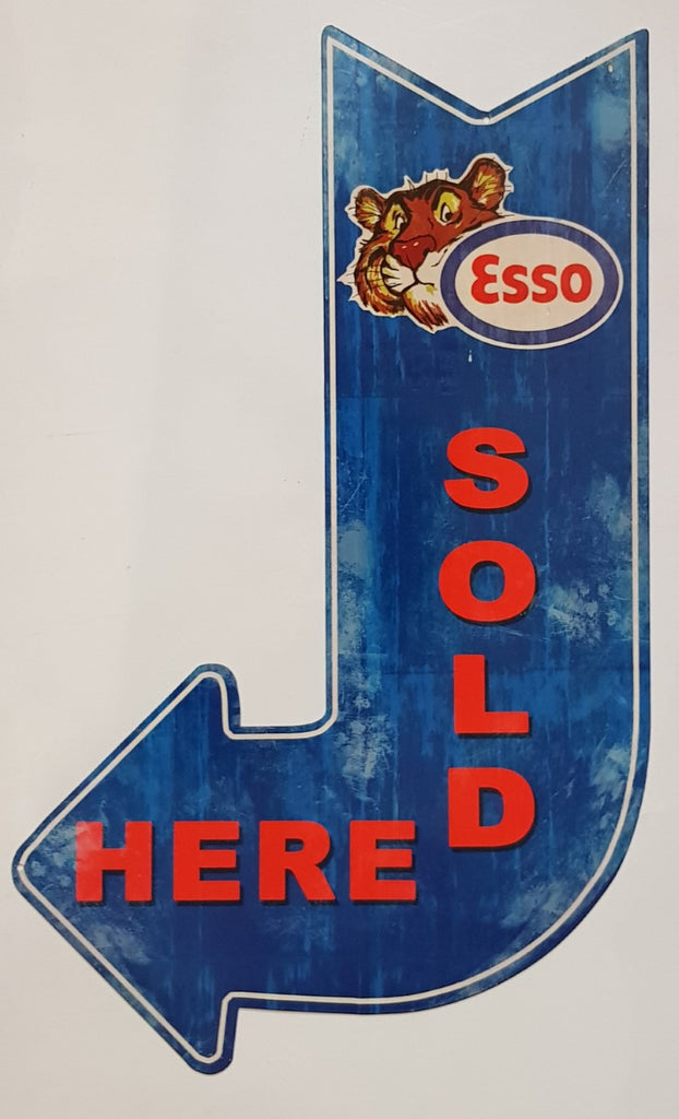 "Tin Sign - Esso Tiger ""Sold Here""  90 Degree Arrow"