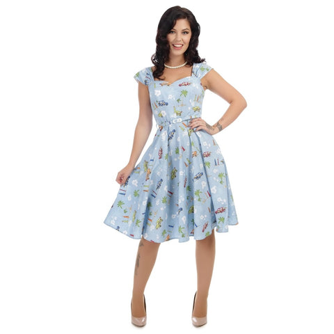 Collectif - Sandra Car Swing Dress Blue|Poisonkandyklothing