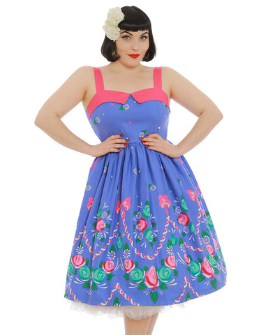 Lindy Bop - Saskia Folk Floral Swing Dress