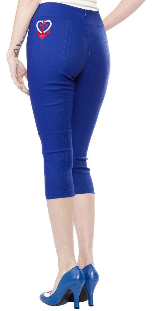 Ladies Pants - Sourpuss Anchor sugar Pie Capris Blue