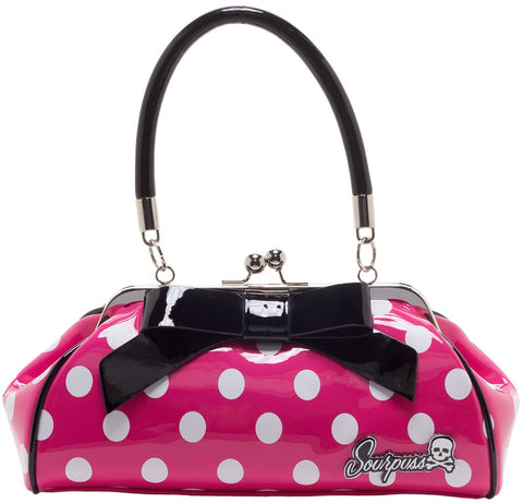 Sourpuss - Floozy Pink/White polka Dot Handbag|PoisonkandyklothingAustralia