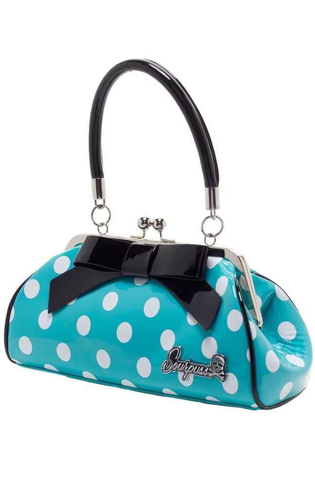 Sourpuss Handbag Floozy Aqua/White polka Dot|PoisonkandyklothingAustralia