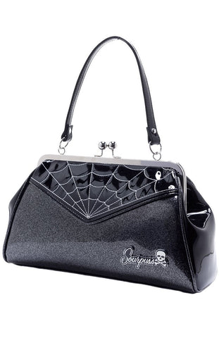Sourpuss Spiderweb Backseat Handbag Baby Blk/Silver